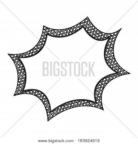 monochrome silhouette speech explosion bubble with dotted contour vector illustration
