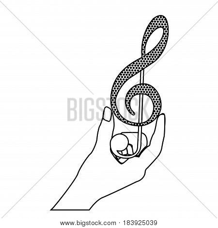 monochrome silhouette of hand holding a treble clef vector illustration