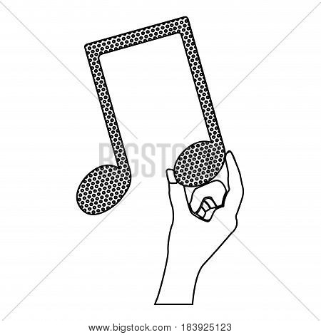 monochrome silhouette of hand holding the musical note vector illustration