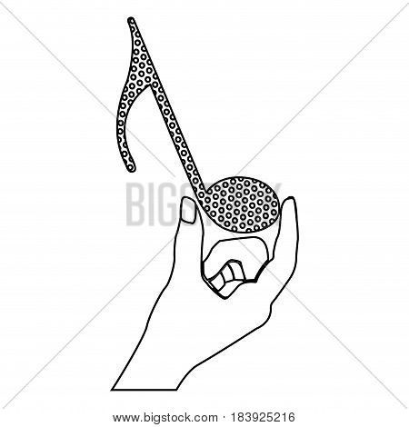 monochrome silhouette of hand holding the quaver note vector illustration