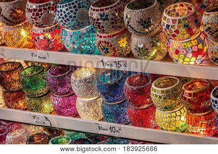 Colorful glasses at the Grand Bazaar, Istanbul.