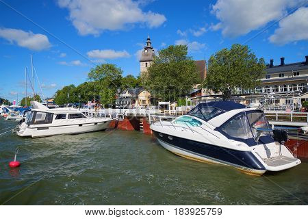 NAANTALI, FINLAND - AUGUST 27, 2016: August day in the harbor of Naantali