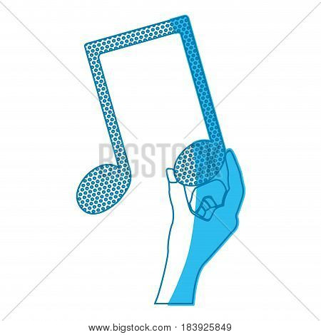blue silhouette of hand holding the musical note vector illustration