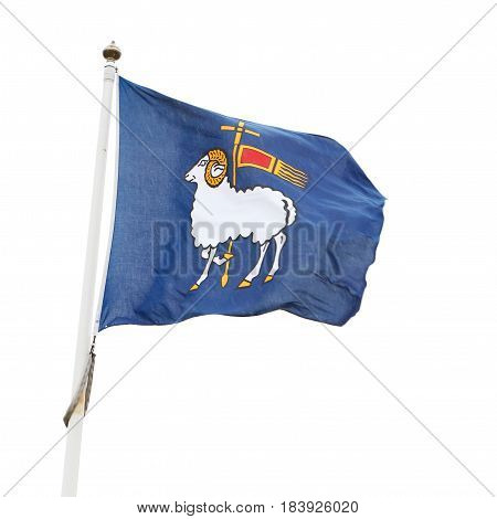 Visby Sweden - May 15 2016: The flag with the coat of arms for the Swedish province of Gotland.