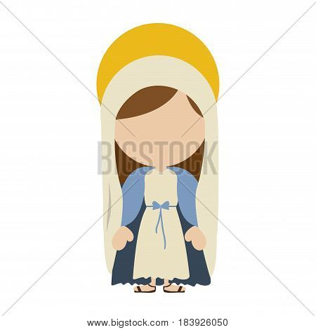 white background with colorful silhouette of faceless image of saint virgin mary vector illustration