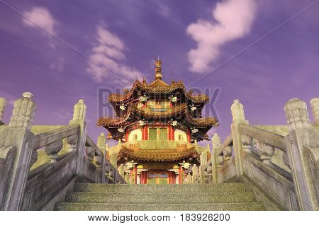 Traditional pavilion at 228 Peace Park in Taipei Taiwan. 228 Peace Park is located in the middle of Taipei downtown.