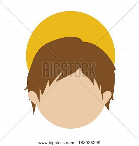 colorful silhouette of faceless head of child jesus vector illustration