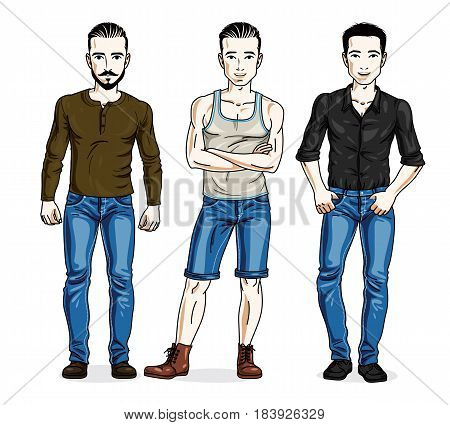 Happy Men Group Standing Wearing Fashionable Casual Clothes. Vector People Illustrations Set. Lifest