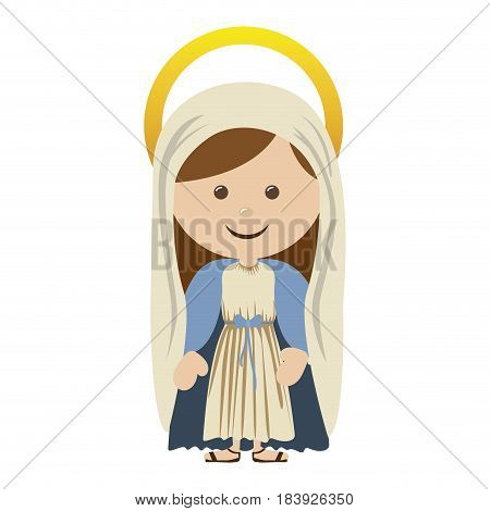 white background with colorful silhouette of saint virgin mary vector illustration