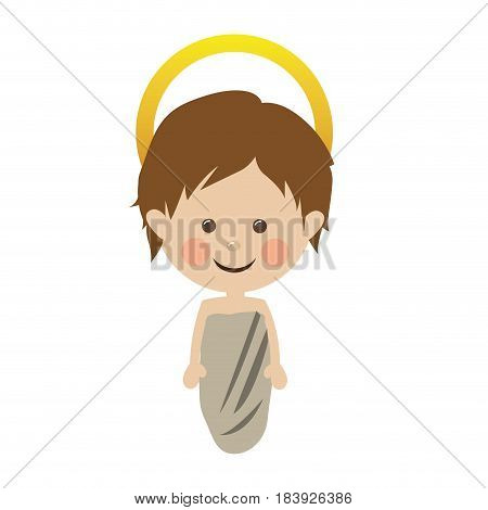 white background with colorful silhouette of baby jesus vector illustration