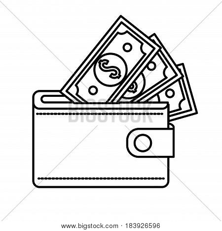 line wallet with dolars bills inside, vector illustration