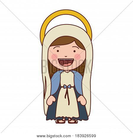 colorful silhouette of smiling saint virgin mary vector illustration