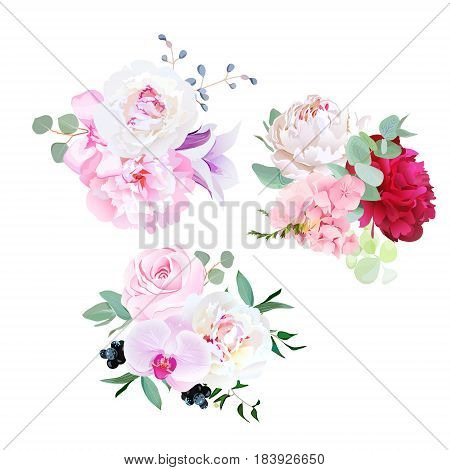 Stylish mix of seasonal bouquets vector design set. Rose, orchid, burgundy red and white peony, bellflower, hydrangea, blackberry, eucalyptus, plants and herbs. All elements are isolated and editable.