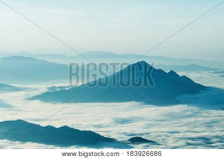 Sunrise at Phu chee dao peak of mountain in Chiang raiThailand