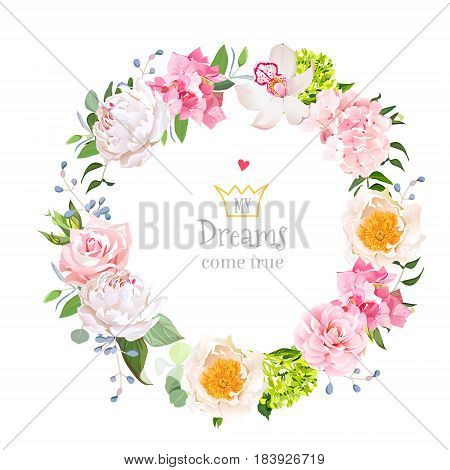 Peony, wild rose, orchid, hydrangea, camellia, wildflowers, blue berries and green leaves vector design round frame. Stylish floral mix. All elements are isolated and editable.