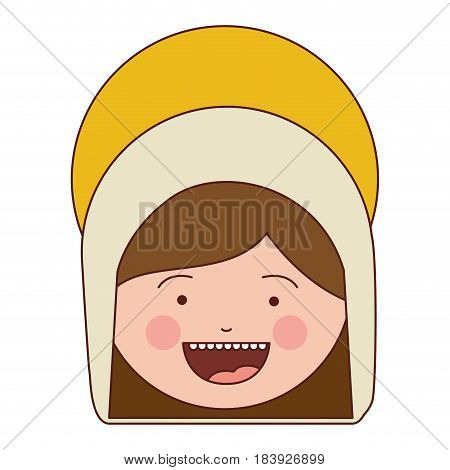 colorful silhouette of smiling face of saint virgin mary vector illustration