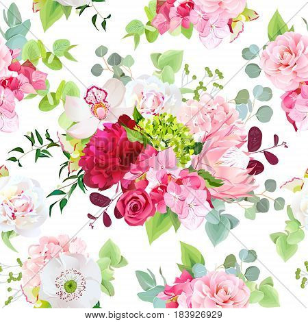 Summer mixed bouquets of peony, pink hydrangea, protea, red rose, orchid, poppy, camellia, berry and bright green leaves. Vector seamless pattern with flowers. All elements are isolated and editable.