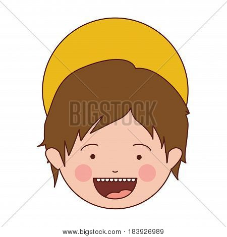 colorful silhouette of smiling face of child jesus vector illustration