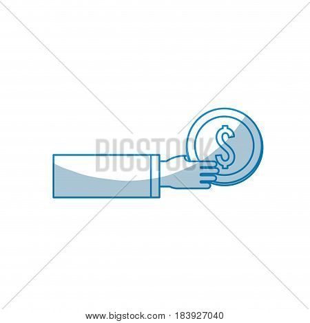 contour coins money in the hand, vector illustration design