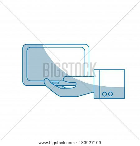 contour tablet technology business in the hand, vector illustration design