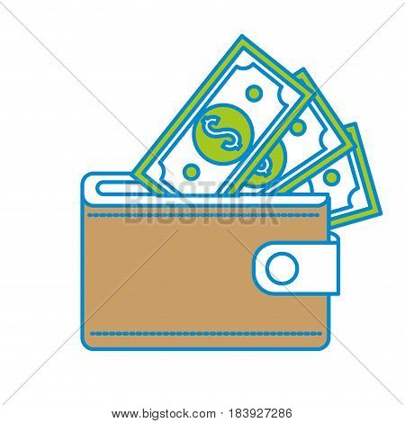 brown wallet with green dolars bills inside, vector illustration