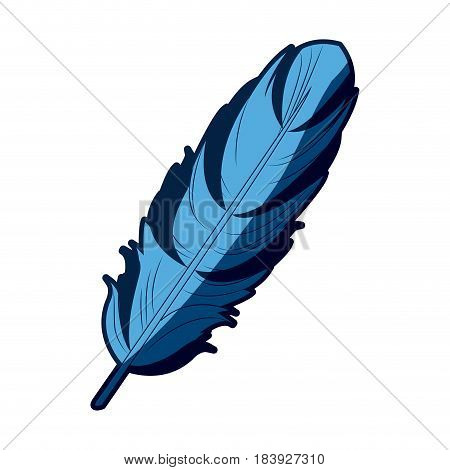 blue feather free spirit rustic decoration ornate vector illustration