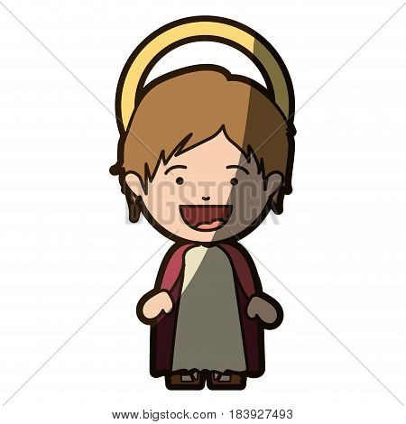 colorful silhouette of smiling image of child jesus with half shadow vector illustration