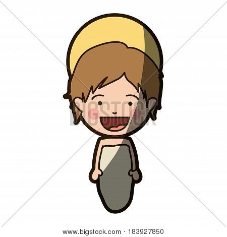 colorful silhouette of smiling baby jesus with half shadow vector illustration