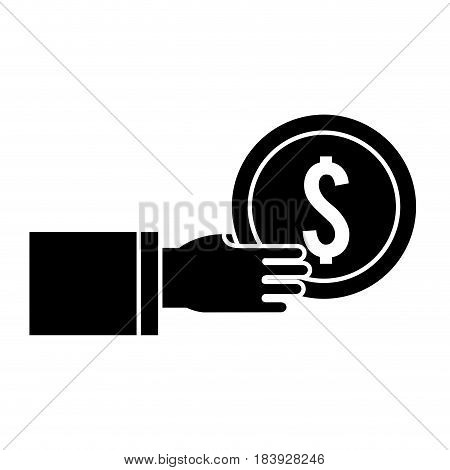 silhouette coins money in the hand, vector illustration design