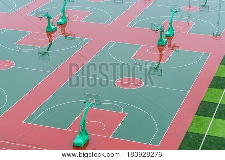 empty school basketball court outside the room