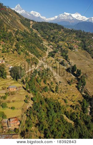 photo taken during paragliding in nepal with view on the himalaya