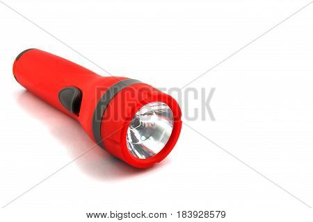 Plastic Torch Flashlight Isolated On White Back Ground