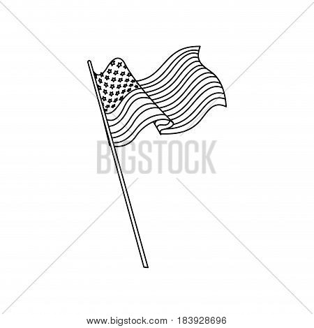 united states of america flag waving national line vector illustration