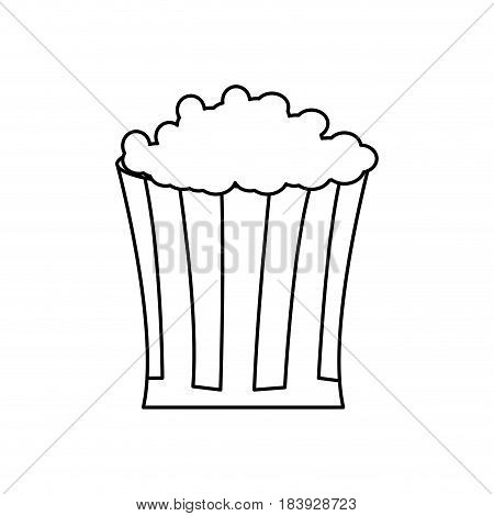 bucket pop corn food celebration party line vector illustration