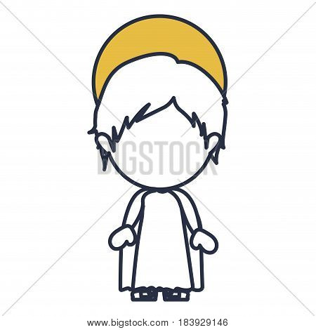 blue color contour of faceless image of child jesus with yellow aura vector illustration