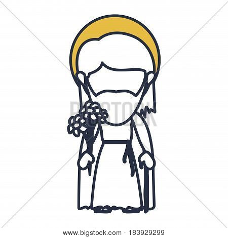 blue color contour of faceless image of saint joseph father with yellow aura vector illustration