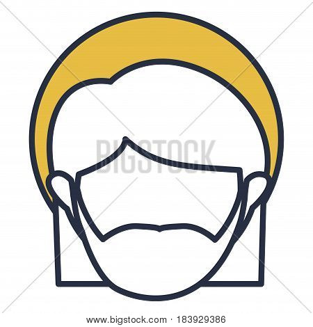 blue color contour of faceless head of saint joseph father with yellow aura vector illustration