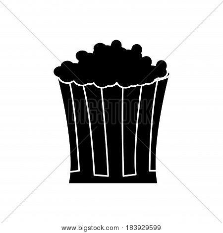 pop corn food celebration party silhouette vector illustration