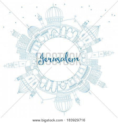Outline Jerusalem Skyline with Blue Buildings and Copy Space. Business Travel and Tourism Concept with Historic Architecture. Image for Presentation Banner Placard and Web Site.