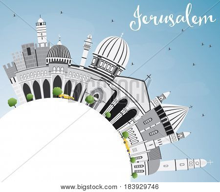 Jerusalem Skyline with Gray Buildings, Blue Sky and Copy Space. Business Travel and Tourism Concept with Historic Architecture. Image for Presentation Banner Placard and Web Site.