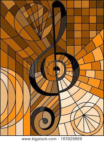 Abstract image of a treble clef in stained glass style brown tone sepia