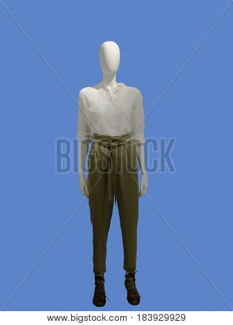 Full-length female mannequin dressed in casual summer clothes isolated. No brand names or copyright objects.