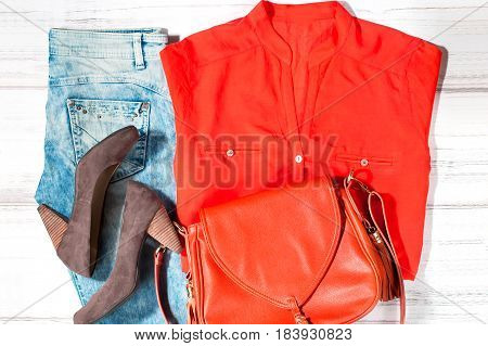 Female trendy summer clothes collection in casual style, top view