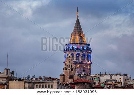 Galata tower shot at blue hour, Istanbul, Turkey.