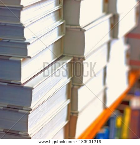 Books On A Shelf In The Library, Reading, And Science Education, Stack Of Books Piled Volume Hardcov