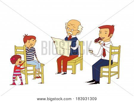 Family scene: grandfather reading a newspaper dad eating a sandwich grandson picking at the nose a little girl is standing near a chair. Isolated on a white background