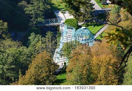 Top View Of Hot Source In Mineral Water Park In Borjomi. Georgia