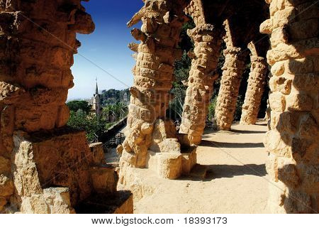 Stone columns and arches in park guell, Barcelona