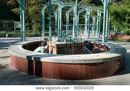Hot Source In Mineral Water Park In Borjomi. Georgia