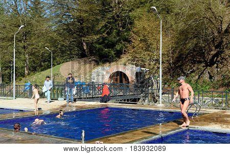 Open Air Sulphur Water Swimming Pools In Borjomi. Georgia